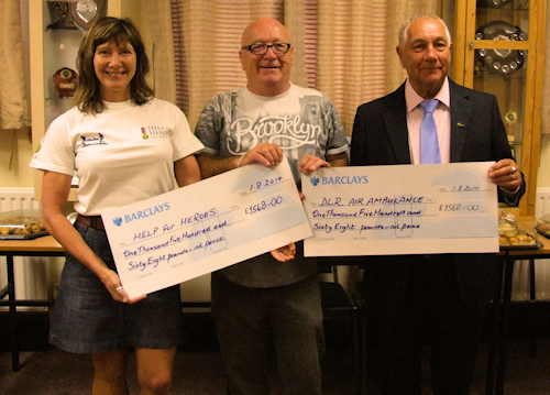 Presentation of cheques to Air Ambulance and Help for Heroes at Enderby Social Club