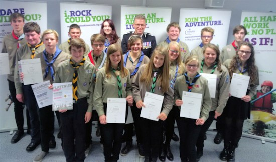 Chief Constable Simon Cole with Scouts and Explorer Scouts from around Leicestershire. Photo: leics.police.uk