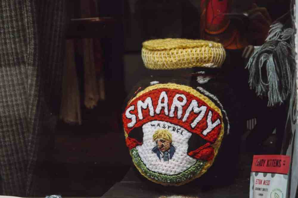 A knitted marmite jar in Frome