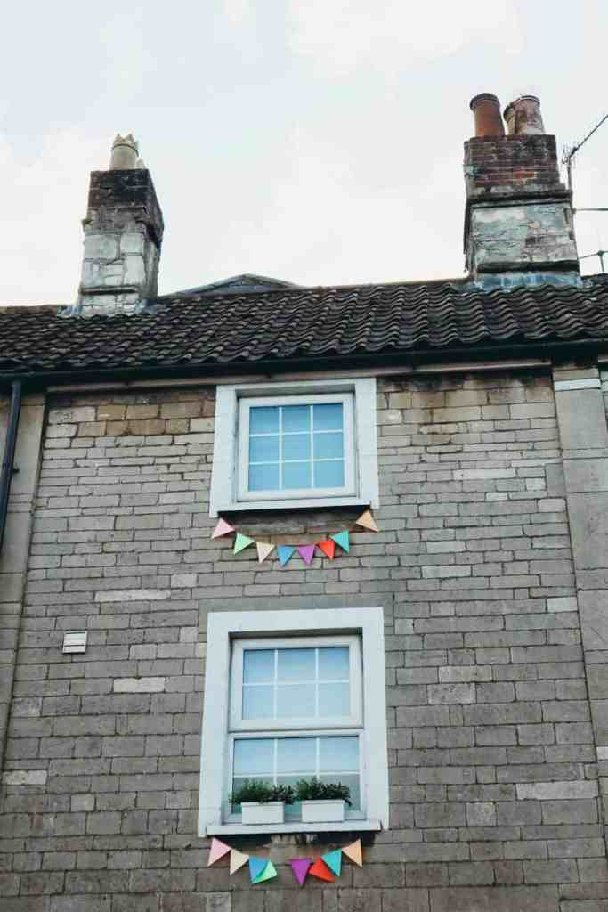 A British house with bunting