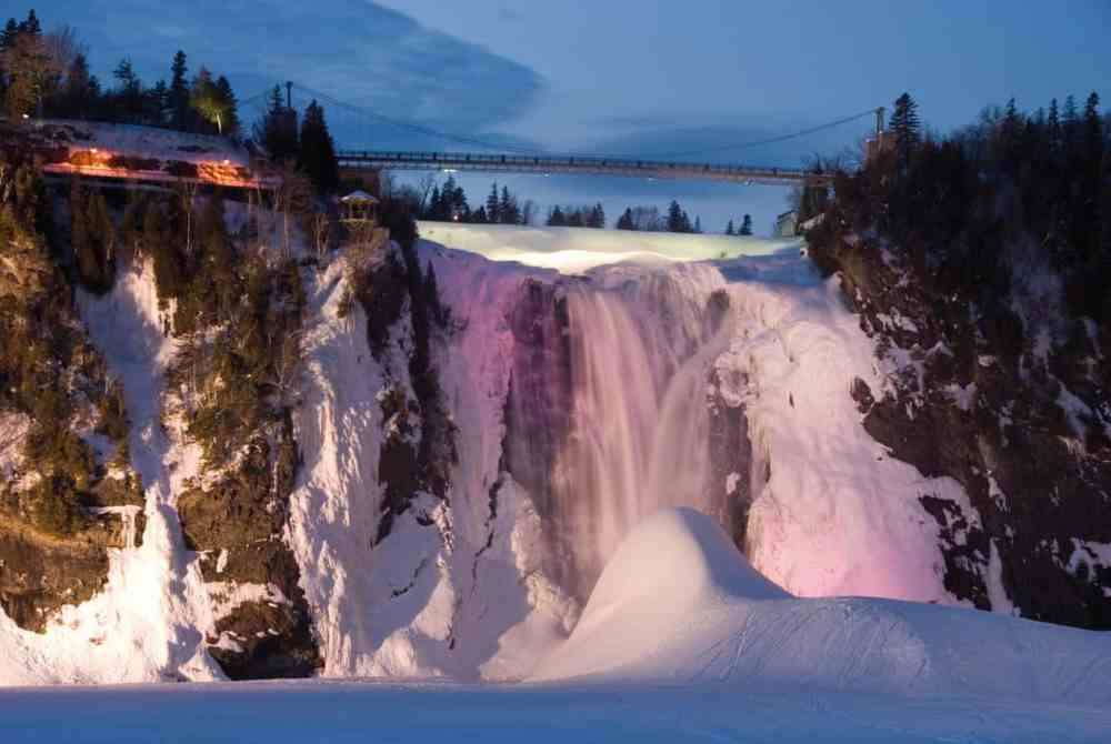 The stunning Montmorency Falls in winter.