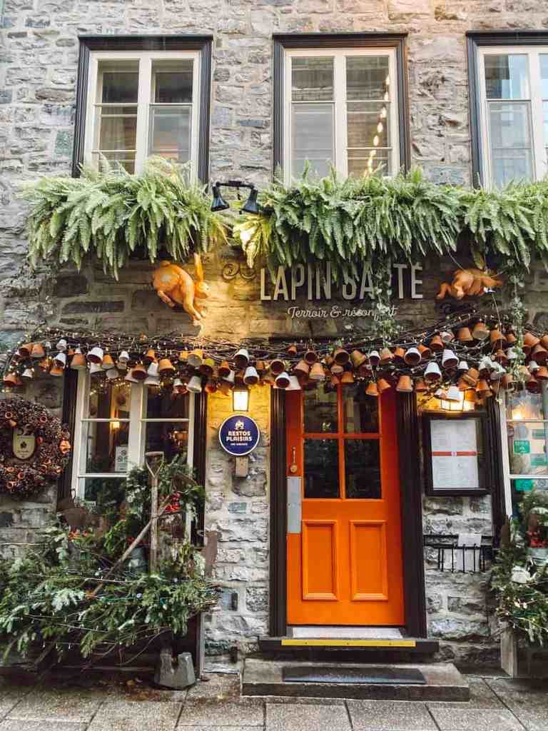 The exterior of Le Lapin Saute - a gluten free friendly restaurant in Quebec City.