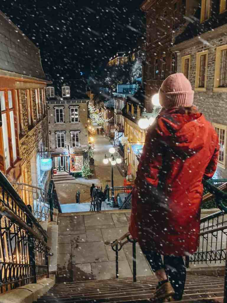 A winter's night in Quebec City at the Quartier du Petit Champlain.