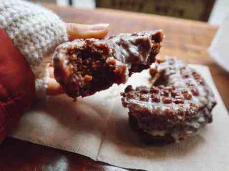 gluten free donut broken in half