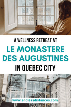 A wellness retreat at Le Monastere des Augustines in Quebec City Canada | Quebec | Quebec City | Canada Travel | Canada Destinations | Canada Honeymoon | Backpack Canada | Canada Vacation Photography North America #travel #honeymoon #vacation #backpacking #bucketlist #wanderlust #Canada #NorthAmerica #visitCanada #discoverCanada #wellnessretreat #quebec #quebeccity #boutiquehotel #lemonasteredesaugustines