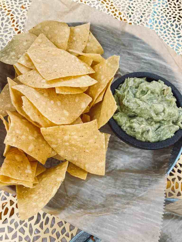 Corn tortilla chips prepared in a dedicated gluten free fryer at The Cantina in Charlevoix