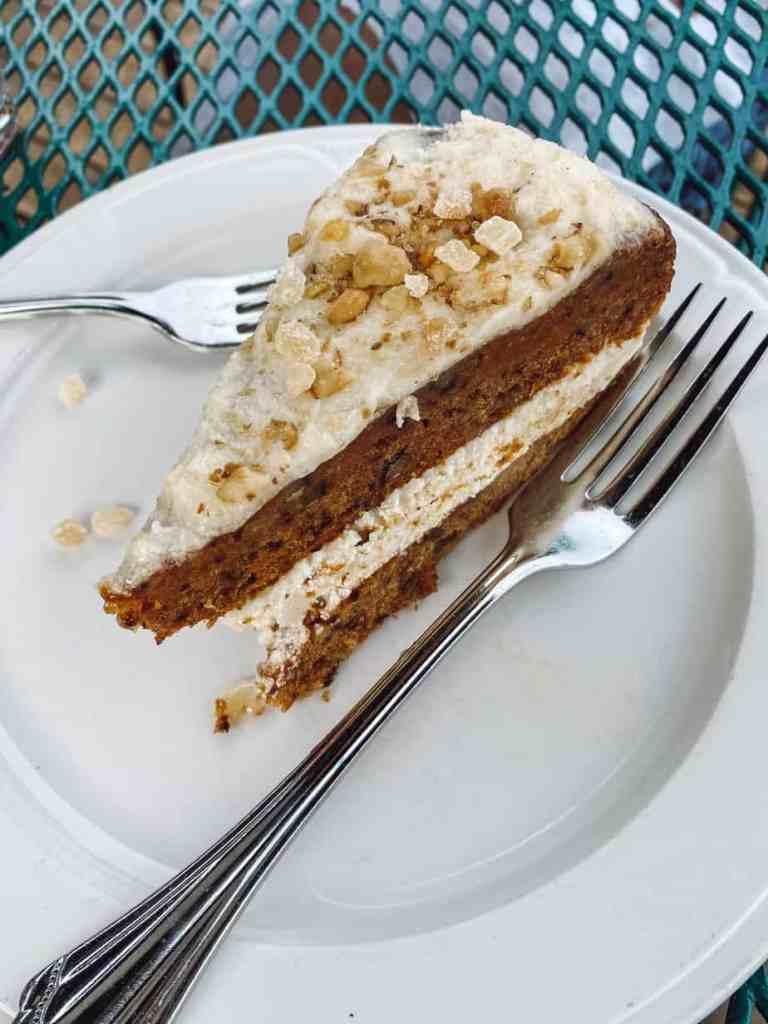 Gluten free carrot cake at Stafford's Weathervane Restaurant in Charlevoix Michigan