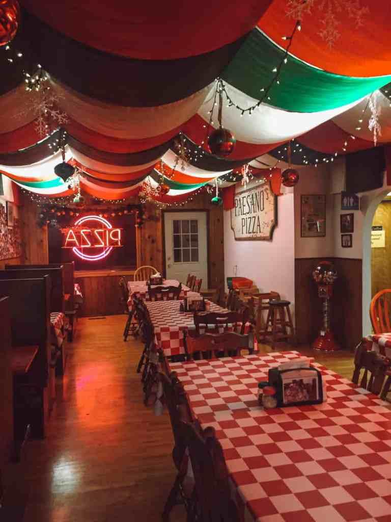 Paesano's Pizza interior in Traverse City Michigan.