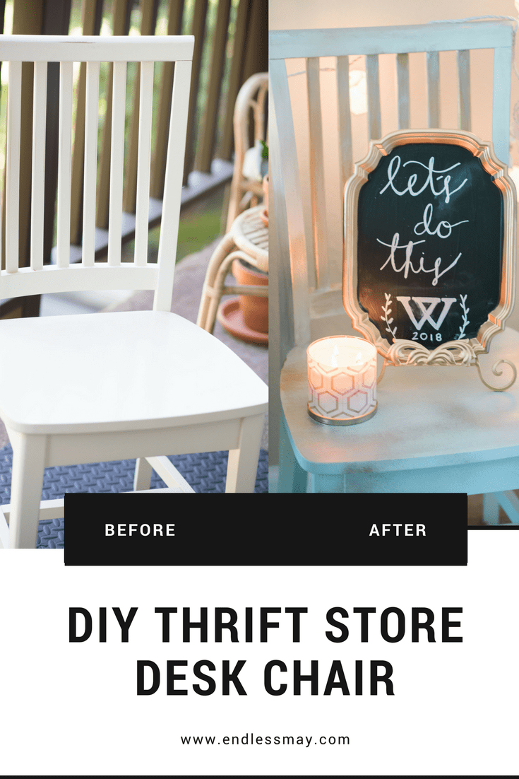 DIY thrift store desk chair that is inexpensive and fun for your dorm room! #ad Endless May & Target Devine Color Valspar paints DIY projects www.endlessmay.com