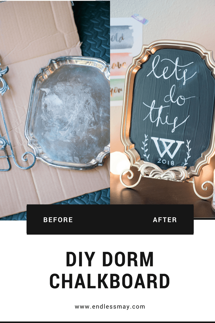 DIY Dorm Chalkboard that is inexpensive and fun for your dorm room! #ad Endless May & Target Devine Color Valspar paints DIY projects www.endlessmay.com