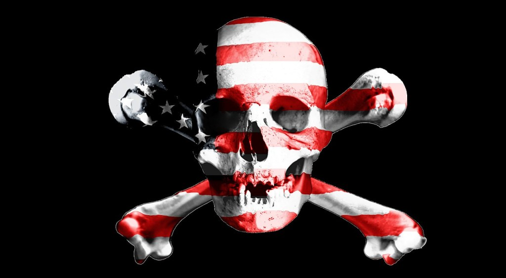 Skull and Cross Bones with colors of American Flag