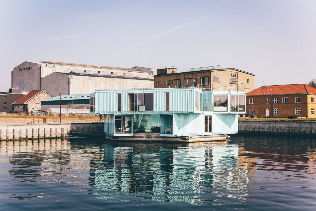 Shipping Container House on water.
