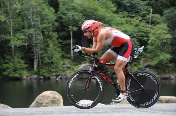 Joe Manning on the bike, 2013 Ironman® Lake Placid