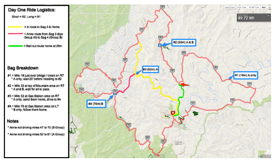 Blue Ridge Day One Ride Map