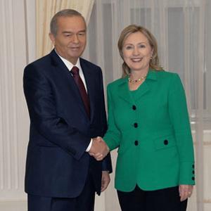 Islam Karimov and Hillary Clinton