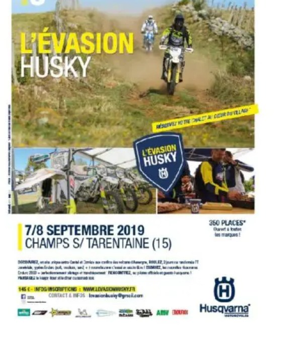 Husqvarna France lance la 5e Evasion Husky les 7/8 septembre 2019
