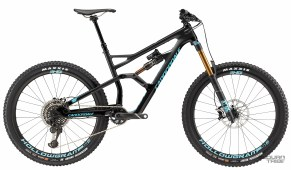 Triangle avant/arrière carbone - 13,05 kg - 7499€ - Suspensions Fox Float Factory - Roues Cannondale carbones - Transmission SRAM XO1 Eagle - freins Sram Guide RSC - Poste de pilotage Cannondale carbone