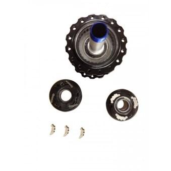 Pour bloquer la roue libre, HXR utilise des cames spécifiques. D'ordinaire mobiles et montés sur ressorts, les cliquets usuels sont remplacés par des cames à plusieurs dents, rigoureusement fixes.