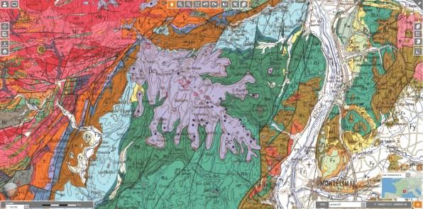 La grosse « feuille de chêne » violette correspond aux coulées volcaniques qui ont comblé l'ancienne vallée et ses ramifications.