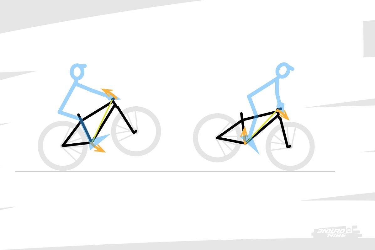 Ces deux manoeuvres, ponctuées d'une impulsion verticale, constituent la base du bunny-up... Et l'on comprend ainsi comment le pilote est à même de manipuler l'assiette du vélo en jouant des deux points d'appui en question...