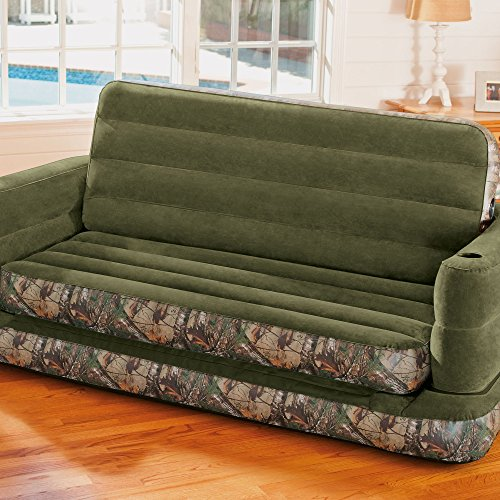 intex queen sleeper sofa reviews what colour cushions go with beige leather inflatable realtree camo print size pull-out ...