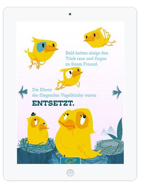 Kinderbuch-App mit süßem Vogel Piet– Vogelfamilie