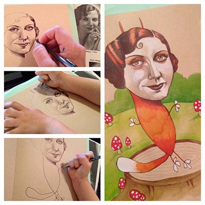 Kreative Mutter Kind Zeichnungen
