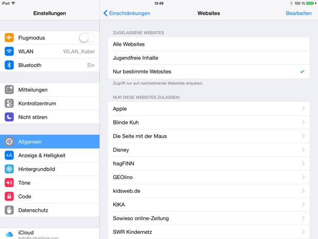 Websites bestimmen – das iPad kindersicher machen