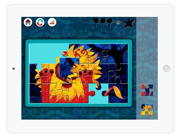 kunstvolle Kinderapp mit Memory und Puzzle Spiel für Kleinkinder