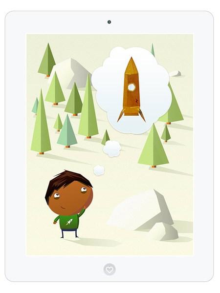 Kinder Spiele App zum Raketen Bauen und durchs All fliegen