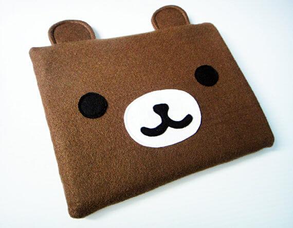 Nerdige iPad Sleeves aus Filz – Bär mit Ohren