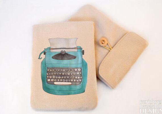 Tablet Sleeves mit Illustration – Schreibmaschine