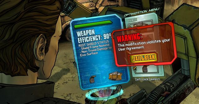 Naturalmente, um jogo Borderlands não podia deixar de ter menus virtuais para escolha de armas. Mas aqui as opções são mais... exóticas.