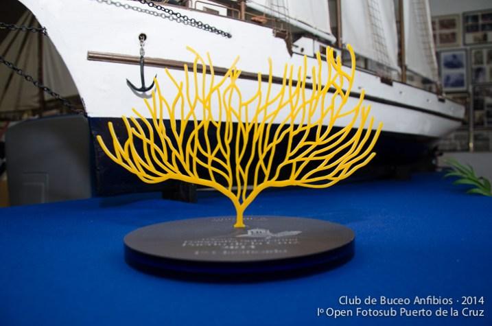 Trofeo de la competición. La Gorgonia amarilla se convirtió en una de las imágenes más representativas del Open.
