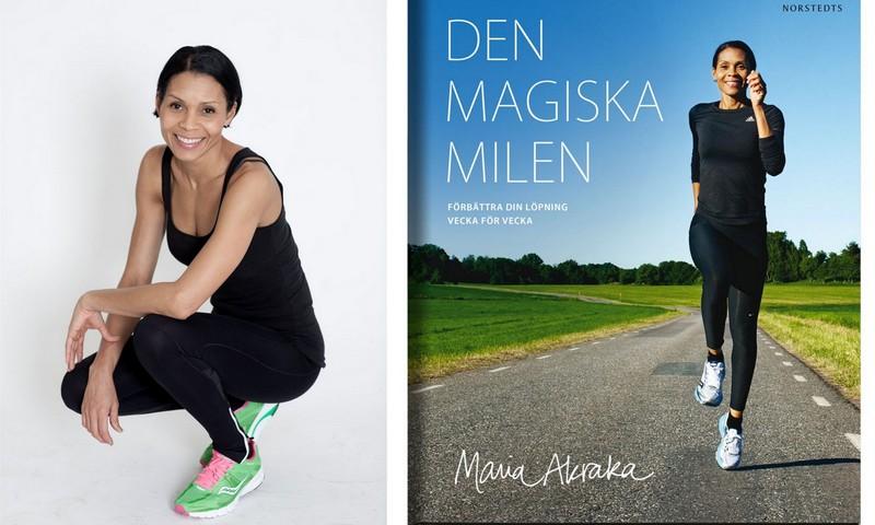 Maria Akraka personbild samt bokomslag Den Magiska Milen