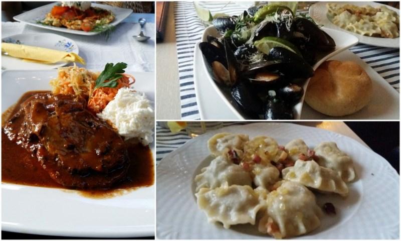 Tre rätter: kött, musslor och piroger. Från Weranda