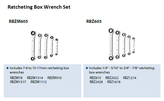BLUE POINT - RATCHETING BOX WRENCH SET