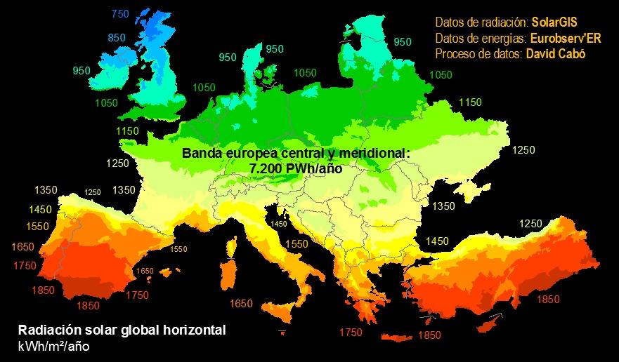 Mapa de radiación Europa