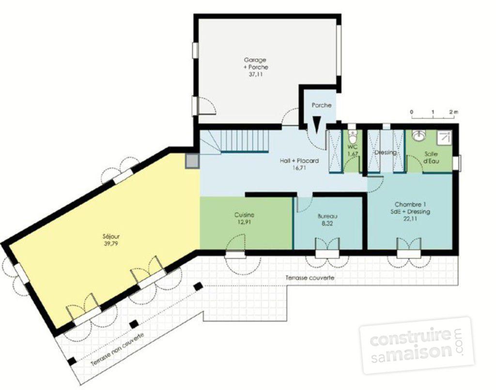 plan maison bois 100m2