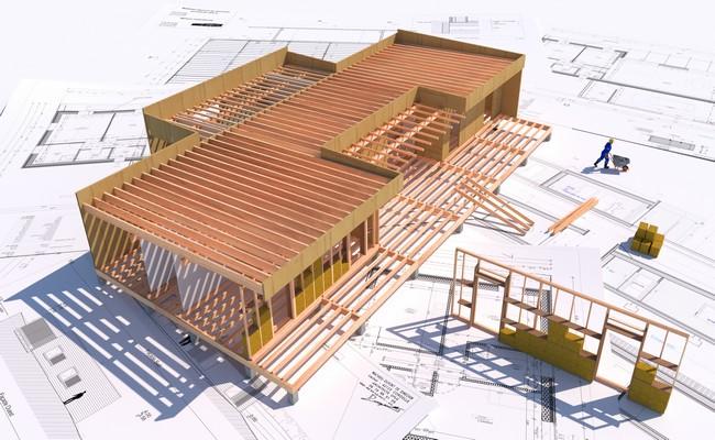 plan maison bois autocad