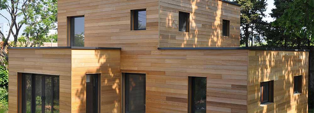 plan maison bois contemporaine