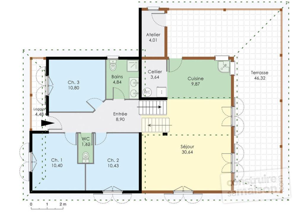 plan maison bois creole
