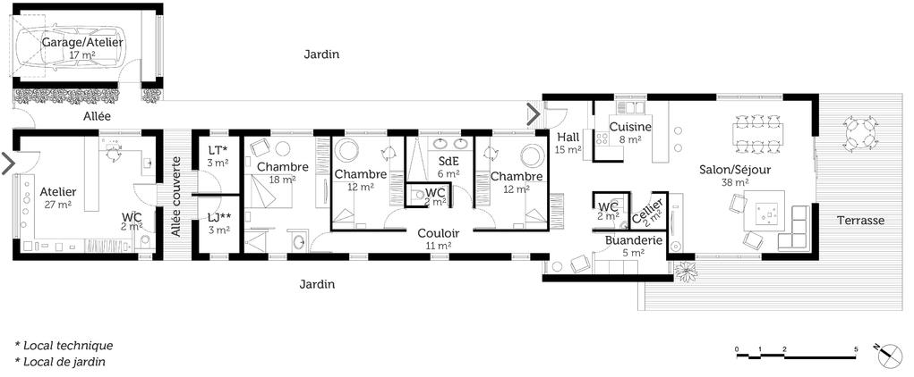 plan maison bois de plain pied