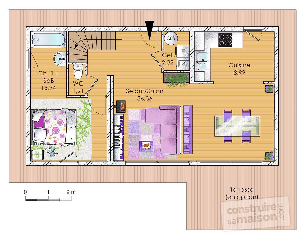 plan maison bois modulaire