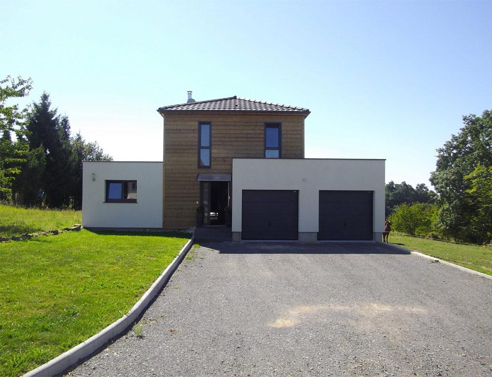 plan maison contemporaine bois toit plat