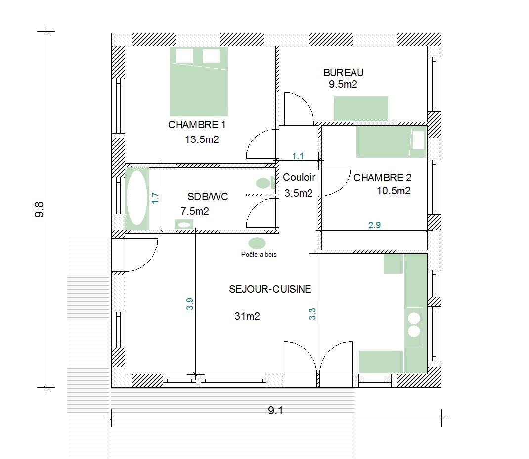 plan maison bois 80m2