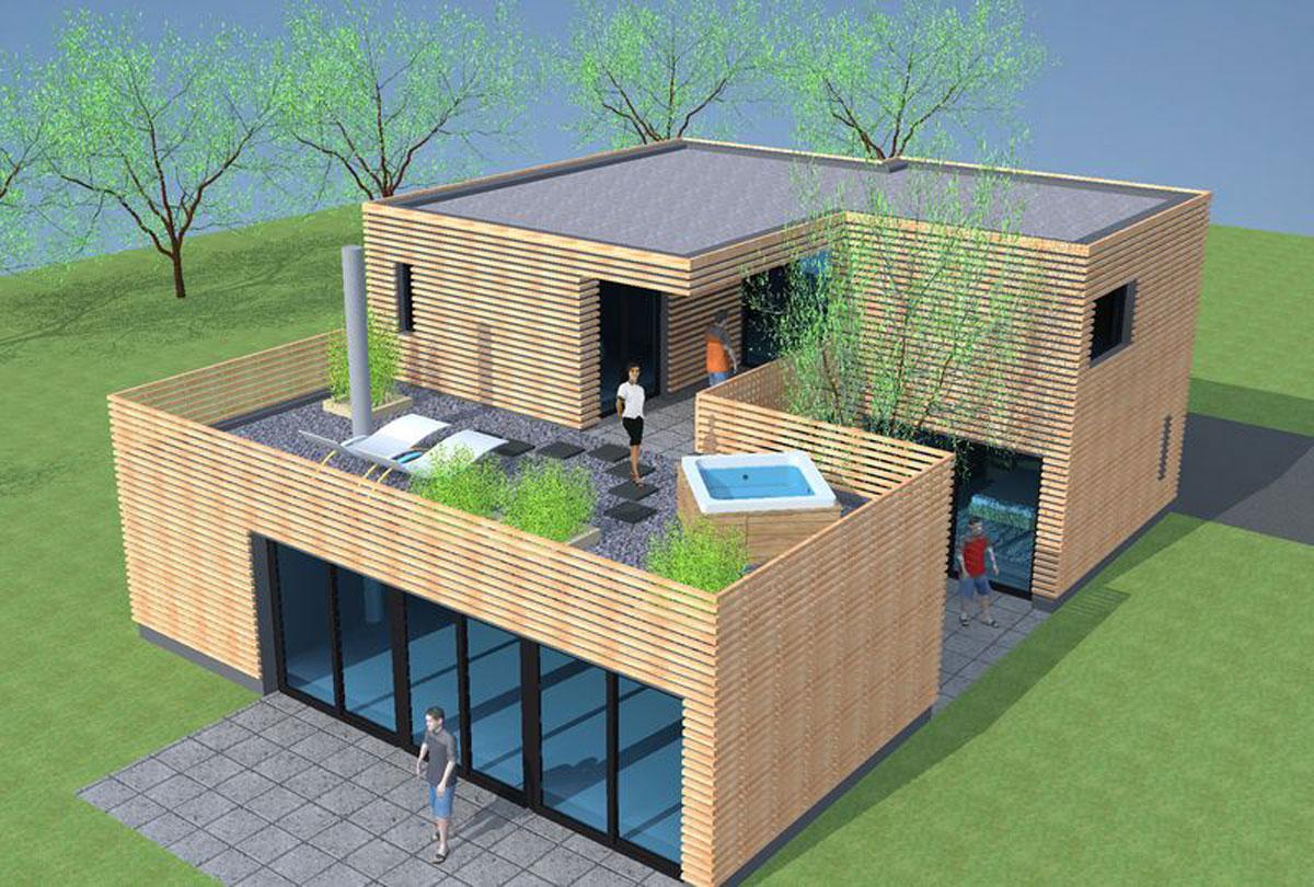 plan maison bois en l