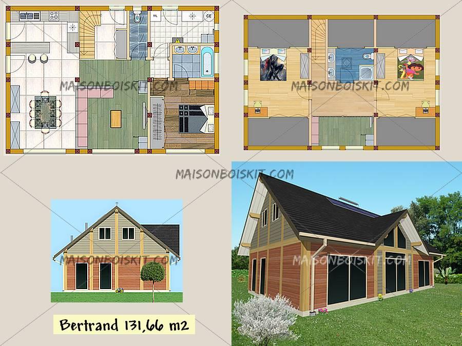 plan maison bois plain pied 100m2