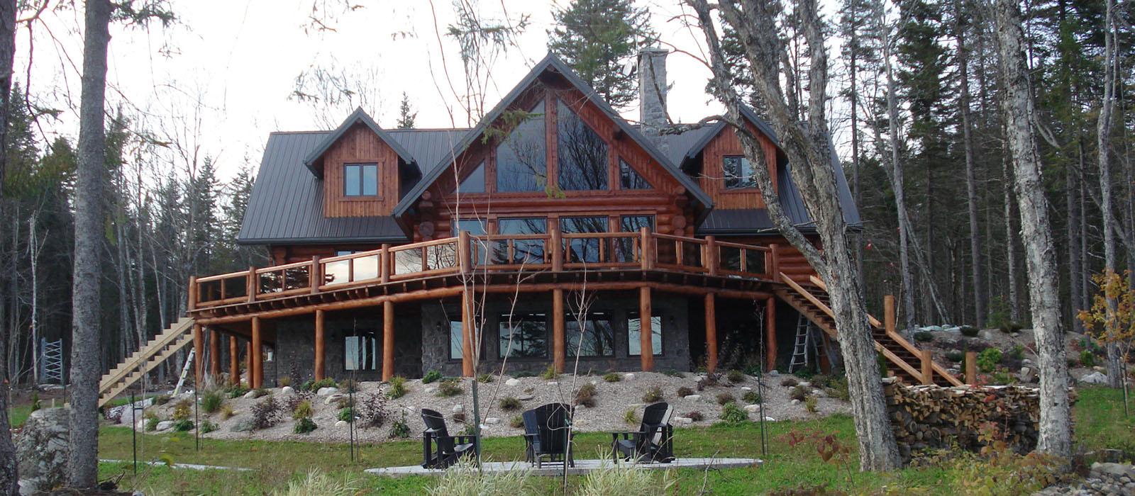 plan maison en bois rond