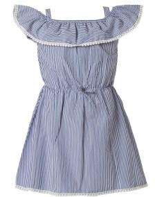 Φόρεμα ριγέ με βολάν